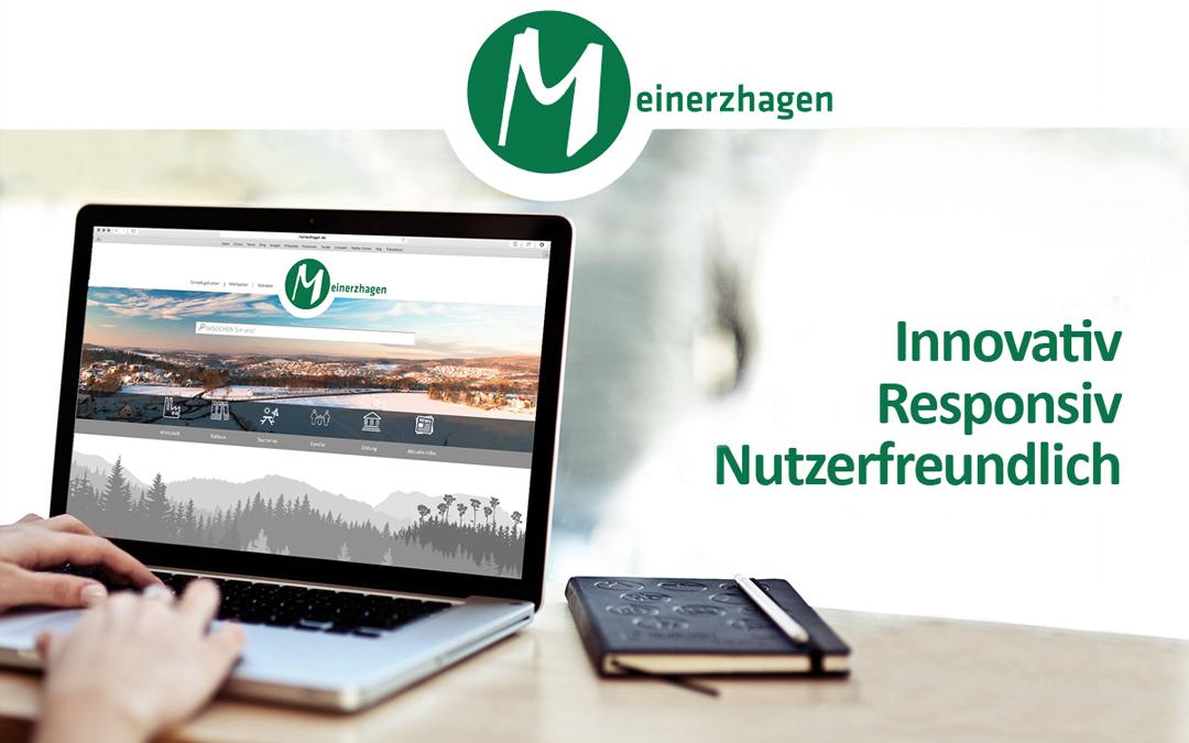 Meinerzhagen-Logo und Website auf Laptop